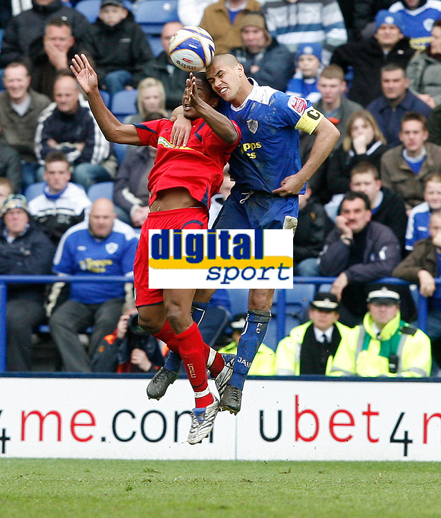 Photo: Steve Bond/Richard Lane Photography. <br />Leicester City v Colchester United. Coca Cola Championship. 12/04/2008. Kevin Lisbie (L) and Patrick Kisnorbo (R) challange in the air