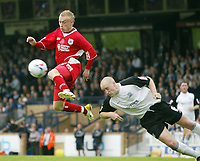 Photo: Chris Ratcliffe.<br />Southend United v Bristol City. Coca Cola League 1. 06/05/2006.<br />Dave Cotterill (L) of Bristol City gets a shot in as he is closed down by Adam Barrett of Southend United.