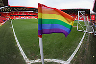 A general view of the corner flag which is in support of TeamPride inside The Valley Stadium during the The FA Cup 2nd round match between Charlton Athletic and Doncaster Rovers at The Valley, London, England on 1 December 2018. Photo by Toyin Oshodi