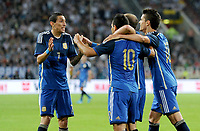Fotball<br /> Tyskland v Argentina<br /> Privatlandskamp<br /> 03.09.2014<br /> Foto: Witters/Digitalsport<br /> NORWAY ONLY<br /> <br /> 0:1 Jubel v.l. Angel di Maria, Torschuetze Sergio Aguero, Pablo Zabaleta, Erik Lamela (Argentinien)<br /> Fussball, Testspiel, Deutschland - Argentinien 2:4