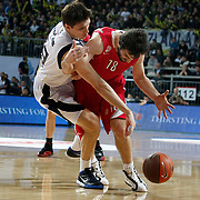 Olympiacos's Milos TEODOSIC (R) during their Euroleague Basketball Top 16 Game 5 match Fenerbahce Ulker between Olympiacos at Sinan Erdem Arena in Istanbul, Turkey, Thursday, February 24, 2011. Photo by TURKPIX