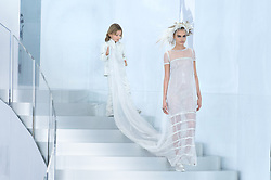 File photo - Cara Delevingne displays a creation designed by Karl Lagerfeld for Chanel Spring-Summer 2014 Haute-Couture collection show held at the Grand Palais, in Paris, France on January 21, 2014. Karl Lagerfeld died on Monday at age 85. One who may inherit is his godson Hudson. Hudson's dad, model Brad Kroenig, is like 'family' to Lagerfeld. Hudson began modeling for Chanel at age two and had continued to pop up on the runway ever since. Photo by Christophe Guibbaud/ABACAPRESS.COM