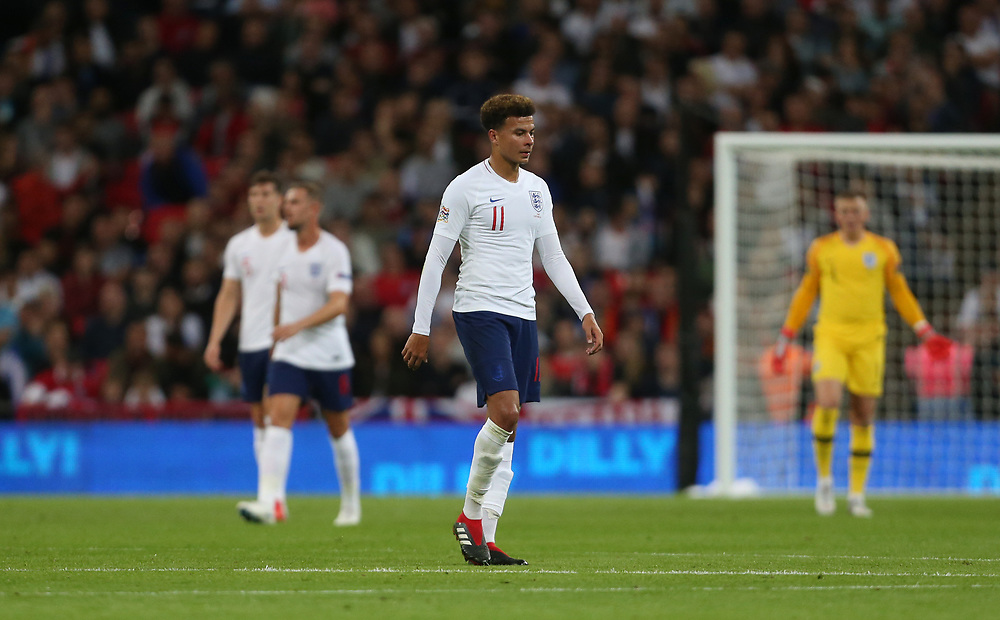Dejection for Dele Alli and England<br /> <br /> Photographer Rob Newell/CameraSport<br /> <br /> UEFA Nations League - League A - Group 4 - England v Spain - Saturday September 8th 2018 - Wembley Stadium - London<br /> <br /> World Copyright © 2018 CameraSport. All rights reserved. 43 Linden Ave. Countesthorpe. Leicester. England. LE8 5PG - Tel: +44 (0) 116 277 4147 - admin@camerasport.com - www.camerasport.com