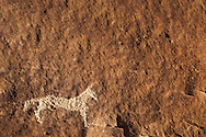 Horselike figure carved by Fremont People rock art petroglyph (prehistoric rock carving dated 600-1300 AD) in the Douglas Creek Canyon south of Rangely, Colorado, USA on Bureau of Land Management (BLM) public lands.