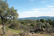 Mediterranean Landscape, Sierra Morena, Andalucia, Spain, looking over valley near Los Escoriales
