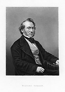 Richard Cobden (1804-1865) 'the Apostle of Free Trade'. British politician, economist and Lancashire calico manufacturer.    A founder in 1838 of Anti-Corn Law League and campaigner for Free Trade.   From 'The World's Great Men'. (London, c.1870).  Engraving.