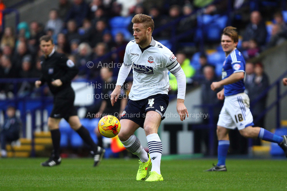 Matthew Mills of Bolton Wanderers on the ball. Skybet football league championship match, Bolton Wanderers v Ipswich Town at the Macron stadium in Bolton, Lancs on Saturday 13th December 2014.<br /> pic by Chris Stading, Andrew Orchard sports photography.