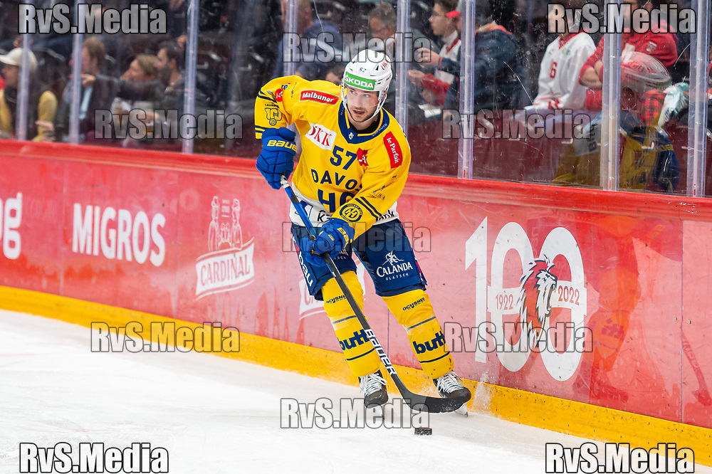 LAUSANNE, SWITZERLAND - SEPTEMBER 24: Davyd Barandun #57 of HC Davos in action during the Swiss National League game between Lausanne HC and HC Davos at Vaudoise Arena on September 24, 2021 in Lausanne, Switzerland. (Photo by Monika Majer/RvS.Media)