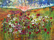 """'Harvest Moon Gypsy Flower Dance' . 30"""" x 40"""" . Acrylic on Canvas . 2017 . SOLD<br /> <br /> I walk daily, usually past a wide field of wildflowers. I daydream of many things while I walk, allowing my imagination to drift around like the wind.<br /> <br /> One day, I envisioned at sunset, on rare occasions, when a harvest moon would rise, and all the humans would go inside to their homes, the special flowers and little creatures would come alive to celebrate life with a Grand Dance. Like gypsies, this was a wild party as all of the grown ups were gone - just the flowers and the little beasties.<br /> <br /> Thus, the title; """"Harvest Moon, Gypsy Flower Dance."""" This piece sold rather quickly. I miss them in my gallery as when working late at night, at times, I could hear them rustling around, impatiently waiting for me to leave so they could enjoy life."""