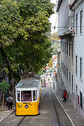 The Gloria Funicular is a funicular railway tram line descending down the Calcada de Gloria on the 29th of October 2019, Lisbon, Portugal. Connecting the Pombaline downtown with Bairro Alto that is operated by Carris.