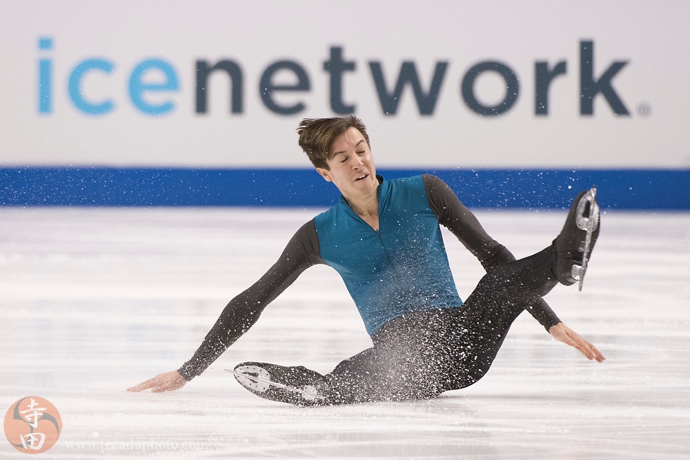 January 4, 2018; San Jose, CA, USA; Sebastien Payannet performs in the men's short program during the 2018 U.S. Figure Skating Championships at SAP Center.