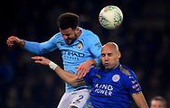 Kyle Walker of Manchester City (l) wins a header over Yohan Benalouane of Leicester city .Carabao Cup quarter final match, Leicester City v Manchester City at the King Power Stadium in Leicester, Leicestershire on Tuesday 19th December 2017.<br /> pic by Bradley Collyer, Andrew Orchard sports photography.