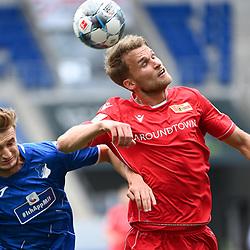 Stefan Posch (Hoffenheim, l.) gegen Sebastian Andersson (Union Berlin, r).<br /> <br /> Sport: Fussball: 1. Bundesliga: Saison 19/20: 33. Spieltag: TSG 1899 Hoffenheim - 1. FC Union Berlin, 20.06.2020<br /> <br /> Foto: Markus Gilliar/GES/POOL/PIX-Sportfotos<br /> <br /> Foto © PIX-Sportfotos *** Foto ist honorarpflichtig! *** Auf Anfrage in hoeherer Qualitaet/Aufloesung. Belegexemplar erbeten. Veroeffentlichung ausschliesslich fuer journalistisch-publizistische Zwecke. For editorial use only. DFL regulations prohibit any use of photographs as image sequences and/or quasi-video.