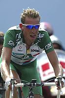 CYCLING - TOUR DE FRANCE 2004 - STAGE 13 - LANNEMEZAN > PLATEAU DE BEILLE - 17/07/2004 - PHOTO : NICO VEREECKEN / DIGITALSPORT<br /> CHRISTOPHE MOREAU (FRA) / CREDIT AGRICOLE