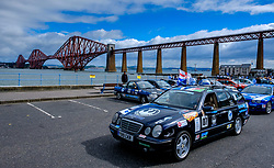Participants in the Rust 2 Rome car rally for cars worth less than £500 prepare to leave South Queensferry on the first leg of the journey which last 2 weeks<br /> <br /> (c) Andrew Wilson | Edinburgh Elite media