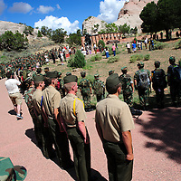 081414  Adron Gardner<br /> <br /> Young Marines stand at attention during the playing of Taps at the Code Talker memorial in Window Rock Thursday.