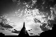 Stupa at sunset in Mrauk U, Rakhine State, Myanmar, Asia