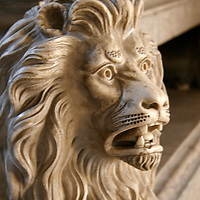 Europe, Portugal, Lisbon. Sculpted stone lion at the Jerónimos Monastery in the district of Belem, a UNESCO World Heritage site.