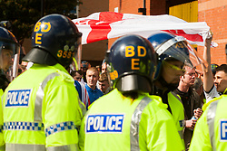 The English Defence League (EDL) return to Sheffield to lay flowers at Sheffield War Memorial . resulting in a police operationlasting over 5 hours involving Officers from Wales, South Yorkshire, Greater Manchester, West Yorkshire, Lancashire and Mersyside Police forces. <br /> <br /> 8 June 2013<br /> Image © Paul David Drabble<br /> www.pauldaviddrabble.co.uk