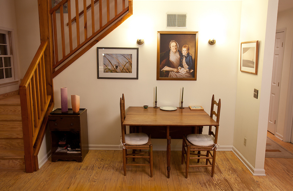 The dining area at one end of the great room of the guest house at 33 Pine View Drive.