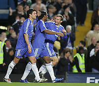 Photo: Lee Earle.<br /> Chelsea v Watford. The Barclays Premiership. 11/11/2006. Chelsea's Andriy Shevchenko (R) is congratulated by Michael Ballack and Didier Drogba after scoring their third.