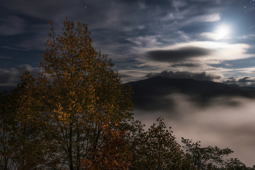Moonlit Night and Fall foliage in West Virginia.