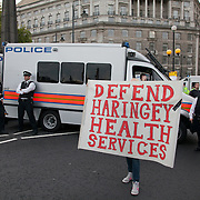 Some protestor left the Westminster Bridge and walked along the river and across Lambeth Bridge to get into Parliament Square. Police stopped them all on the North side from getting any further..The Health and Care Bill has been passed by Parliament and is due to go to the House of Lords. In protest against the bill which aim to deconstruct and privatise large parts of the NHS UK Uncut activists together with health workers and trade unionists blocked the Westminster Bridge from 1pm til 5.30pm.