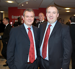 CARDIFF, WALES - Tuesday, October 7, 2008: Wales' paramediac Mark McCusker and xxxx at the Brains Beer Wales Football Awards at the Millennium Stadium. (Photo by David Rawcliffe/Propaganda)