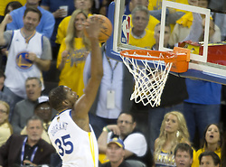 May 31, 2018 - Oakland, California, U.S - Kevin Durant #35 of the Golden   State Warriors dunks the  ball during  their NBA Championship Game 1 with the  Cleveland  Cavaliers at Oracle Arena in Oakland, California  on Thursday,  May 31, 2018. (Credit Image: © Prensa Internacional via ZUMA Wire)
