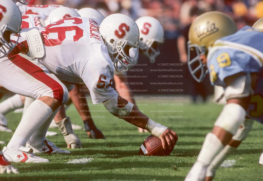 Stanford vs UCLA, Oct 11, 1980 at the Los Memorial Angeles Colisseum. John Macaulay #66. Photograph © 1980 David Madison