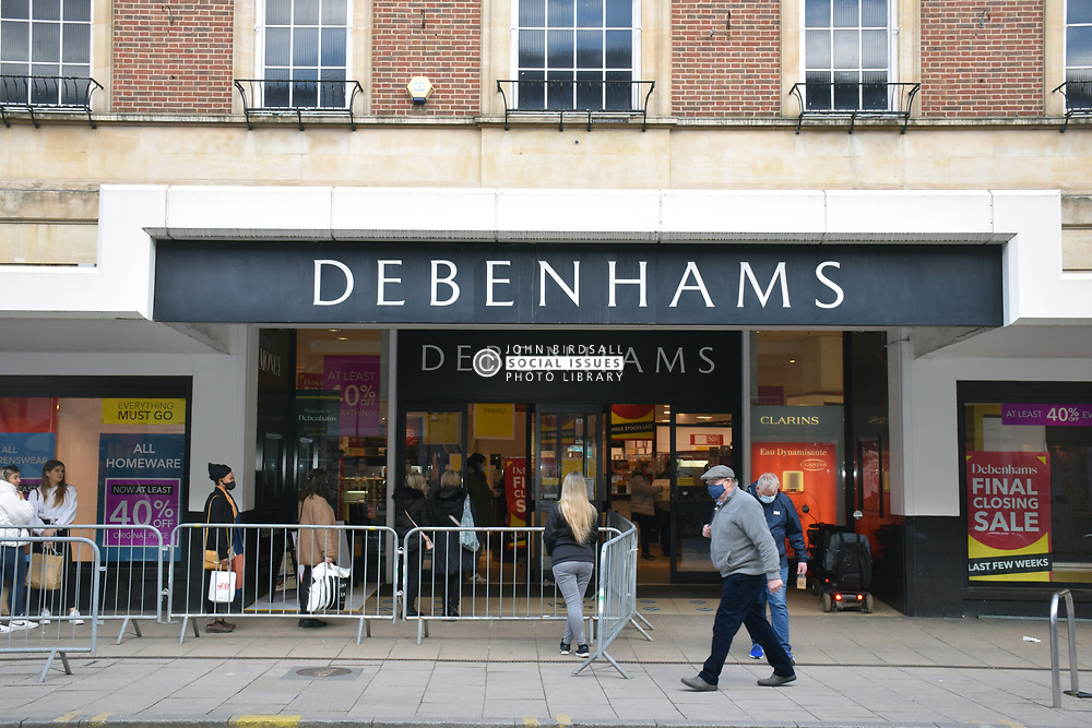 As England eases out of Coronavirus lockdown no 3, non-essential shops reopen on 12 April 2021. Debenhams reopens for its closing down sale, Norwich UK
