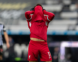 NEWCASTLE-UPON-TYNE, ENGLAND - Wednesday, December 30, 2020: Liverpool's Mohamed Salah pulls his shirt over his face as he looks dejected after missing a chance during the FA Premier League match between Newcastle United FC and Liverpool FC at St. James' Park. The game ended in a goal-less draw. (Pic by David Rawcliffe/Propaganda)