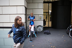 Natalie Kerwin (NZL) of Veloconcept Cycling Team warms up for the Prudential Ride London Classique - a 66 km road race, starting and finishing in London on July 29, 2017, in London, United Kingdom. (Photo by Balint Hamvas/Velofocus.com)