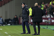 Slaven Bilic, West Ham United manager appears to see the funny side as Pep Guardiola, the Manchester City manager looks on. Premier league match, West Ham Utd v Manchester city at the London Stadium, Queen Elizabeth Olympic Park in London on Wednesday 1st February 2017.<br /> pic by John Patrick Fletcher, Andrew Orchard sports photography.
