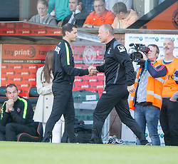 Dundee United's manager Jackie McNamara and Inverness Caledonian Thistle's manager John Hughes at the end.<br /> Dundee United 1 v 1 Inverness Caledonian Thistle, SPFL Ladbrokes Premiership game played 19/9/2015 at Tannadice.