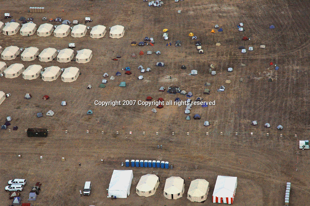 Aerial view of Firemen Encampment near the site Wildfire's Destruction on the California landscapes.