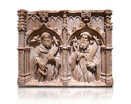 Gothic alabaster relief sculpture of two profits by Pere Oller, circa 1415, from the convent del Carme, Girona, Spain..  National Museum of Catalan Art, Barcelona, Spain, inv no: MNAC 214163. Against a white background. .<br /> <br /> If you prefer you can also buy from our ALAMY PHOTO LIBRARY  Collection visit : https://www.alamy.com/portfolio/paul-williams-funkystock/gothic-art-antiquities.html  Type -     MANAC    - into the LOWER SEARCH WITHIN GALLERY box. Refine search by adding background colour, place, museum etc<br /> <br /> Visit our MEDIEVAL GOTHIC ART PHOTO COLLECTIONS for more   photos  to download or buy as prints https://funkystock.photoshelter.com/gallery-collection/Medieval-Gothic-Art-Antiquities-Historic-Sites-Pictures-Images-of/C0000gZ8POl_DCqE