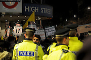 London 04/01/09: Protests outside the Israeli Embassy in London UK: Hight Street Kensington tube station was closed for a short while due to the amount of protesters