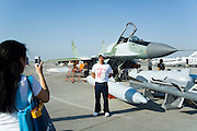 Dubai 2005, 9th International Aerospace Exhibition. Russian MIG 29 multi-role fighter plane with add-ons.