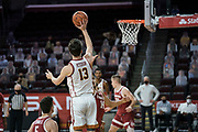 Southern California Trojans guard Drew Peterson (13) shoots during an NCAA men's basketball game against the Stanford Cardinal, Wednesday, March 3, 2021, in Los Angeles. USC defeated Stanford 79-42. (Jon Endow/Image of Sport)