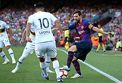 August 15, 2018 - Barcelona, Spain - Edwin Cardona and Leo Messi during the match between FC Barcelona and C.A. Boca Juniors, corresponding to the Joan Gamper trophy, played at the Camp Nou, on 15th August, 2018, in Barcelona, Spain. (Credit Image: © Joan Valls/NurPhoto via ZUMA Press)