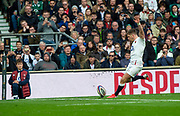 Twickenham, England, 23rd February, Guinness Six Nations, International Rugby, Owen FARRELL, kicks to Convert a second half Try,    England vs Ireland, RFU Stadium, United Kingdom, [Mandatory Credit; Peter SPURRIER/Intersport Images]