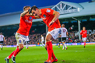 Anthony Knockaert  and Lewis Dunk of Brighton and Hove Albion during the Sky Bet Championship match at Craven Cottage, London<br /> Picture by Richard Brooks/Focus Images Ltd 07947656233<br /> 02/01/2017