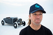 Image of Jeff Seliga and his hot rod racer at Speed Week 2018 at the Bonneville Salt Flats, Utah, American Southwest by Randy Wells