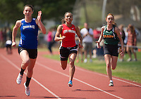 Oyster River's Natalie Bilynsky, Coe-Brown's Jelesa Nelson and Bishop Brady's Sara Senter compete in the 100 Meter Dash final at the Merrimack Valley Invitational track meet on Saturday.  (Karen Bobotas/for the Concord Monitor)