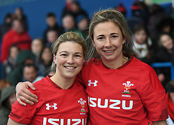 Wales' Half Backs Keira Bevan and Elinor Snowsill<br /> Wales Women v Ireland Women<br /> Guinness Six Nations 2019<br /> Cardiff Arms Park<br /> <br /> Photographer Mike Jones/Replay Images<br /> <br /> Guinness Six Nations 2019<br /> Cardiff Arms Park<br /> Cardiff.<br /> 17th March 2019<br /> <br /> World Copyright © Replay Images . All rights reserved. info@replayimages.co.uk - http://replayimages.co.uk
