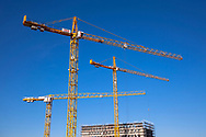 Germany, Cologne, cranes on the the construction site of the building project MesseCity Koeln near the exhibition center in the district Deutz.<br /> <br /> Deutschland, Koeln, Kraene auf der Baustelle des Grossprojektes MesseCity Koeln neben dem Messegelaende.