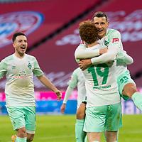 21.11.2020, Allianz Arena, Muenchen, GER,  FC Bayern Muenchen SV Werder Bremen <br /> <br /> <br />  im Bild Jubel nach dem Tor zum 0-1 durch Maximilian Eggestein (SV Werder Bremen #35) mit Josh Sargent (SV Werder Bremen #19) Ludwig Augustinsson (SV Werder Bremen #5) Kevin Moehwald (SV Werder Bremen #6) <br /> <br /> <br /> Foto © nordphoto / Straubmeier / Pool/ <br /> <br /> DFL regulations prohibit any use of photographs as image sequences and / or quasi-video.