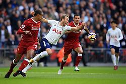 22 October 2017 -  Premier League - Tottenham Hotspur v Liverpool - Harry Kane of Tottenham Hotspur in action with Joel Matip and Dejan Lovren of Liverpool - Photo: Marc Atkins/Offside