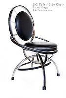 "S-2 Cafe Chair, chromed-steel rims, padded vinyl cushions. 24"" x 24"" x 36"" high, 18"" seat height."